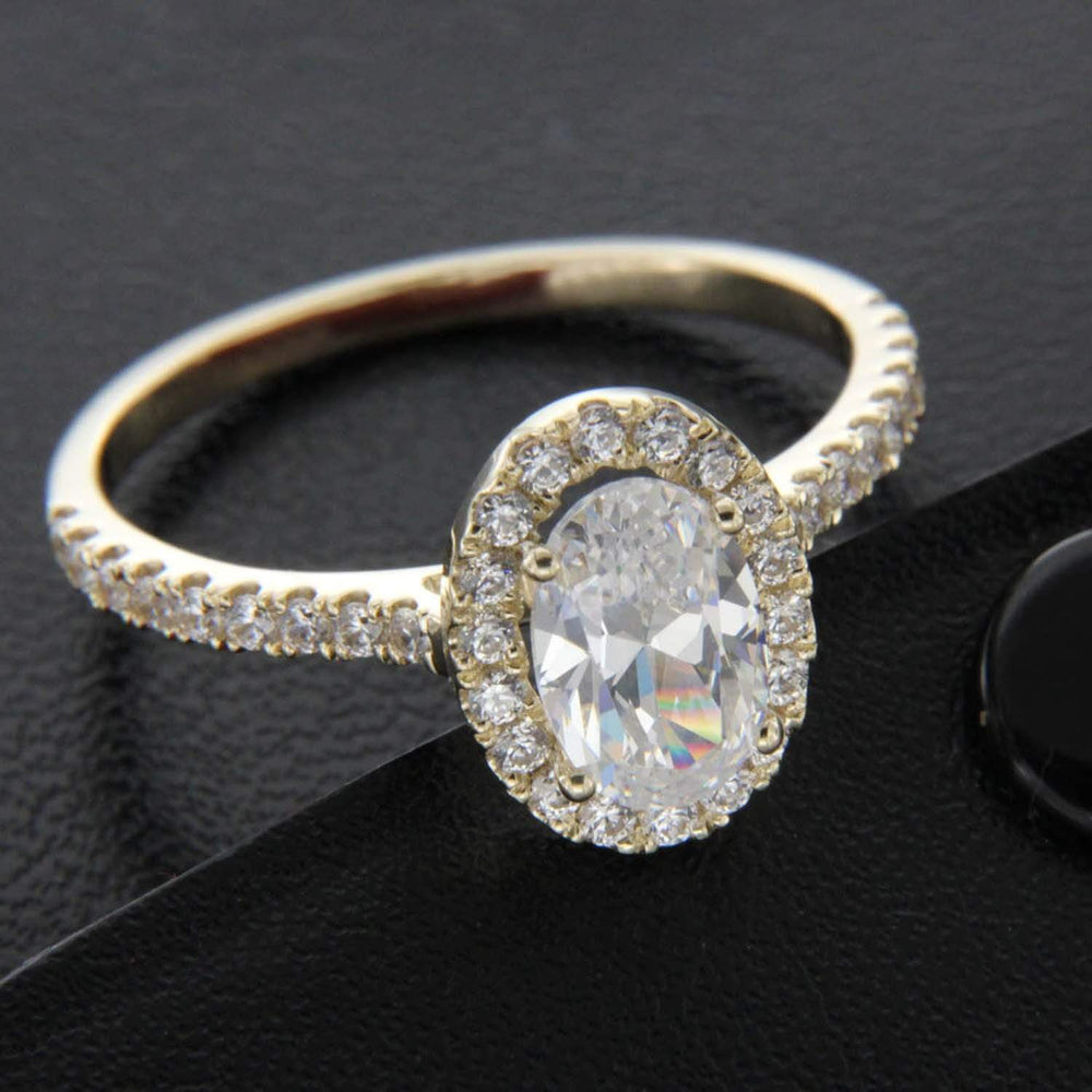 Engagement Rings Oval & Round Cut Diamond Halo Engagement Ring 14k Yellow Gold Finished