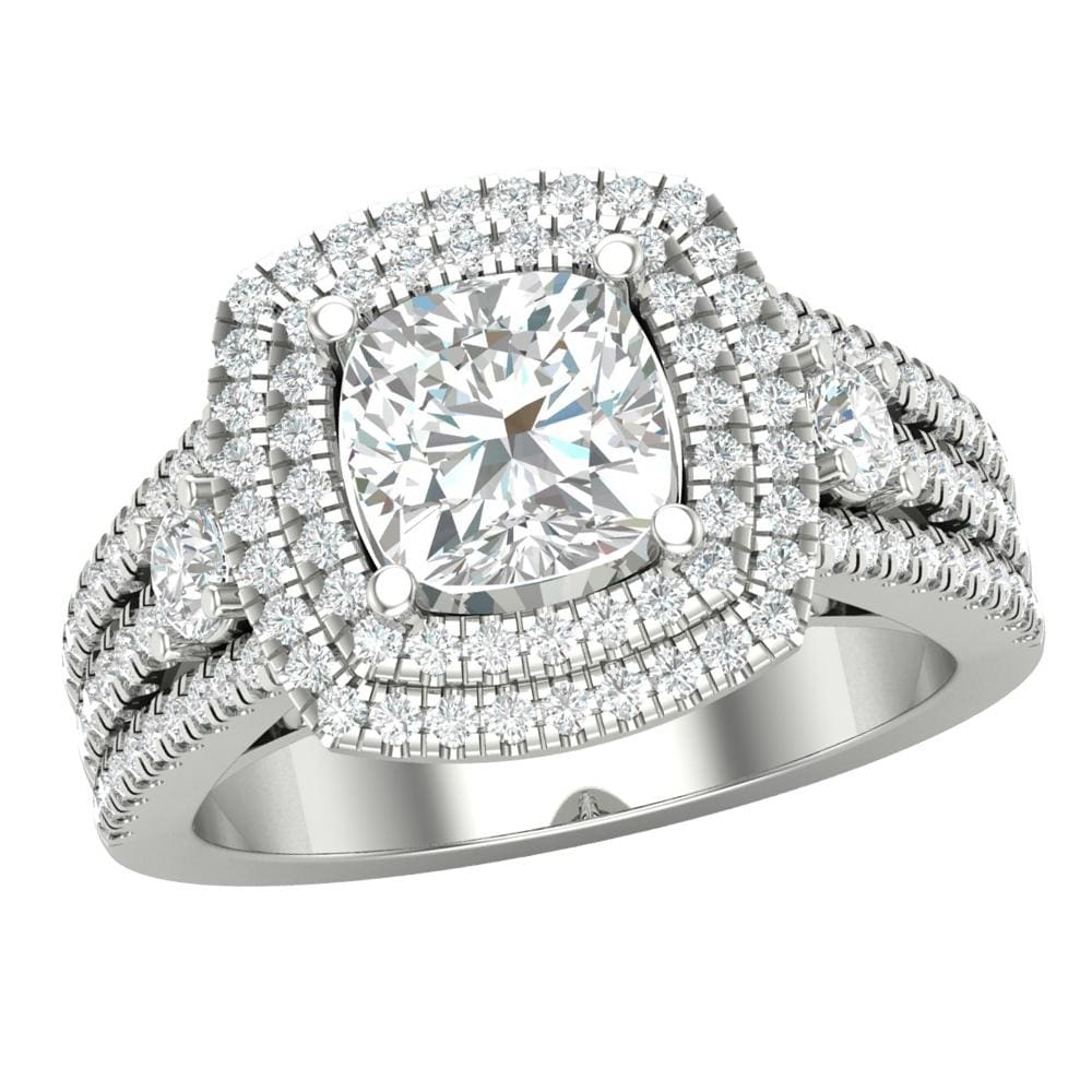 Real 10K White Gold Engagement Ring