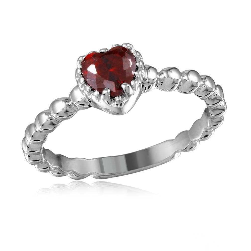 Red Beaded Heart Ring