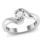 Round Cut Solitaire Swirl Ring