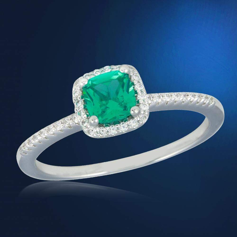 Engagement Rings Square Halo Emerald And Diamond Ring