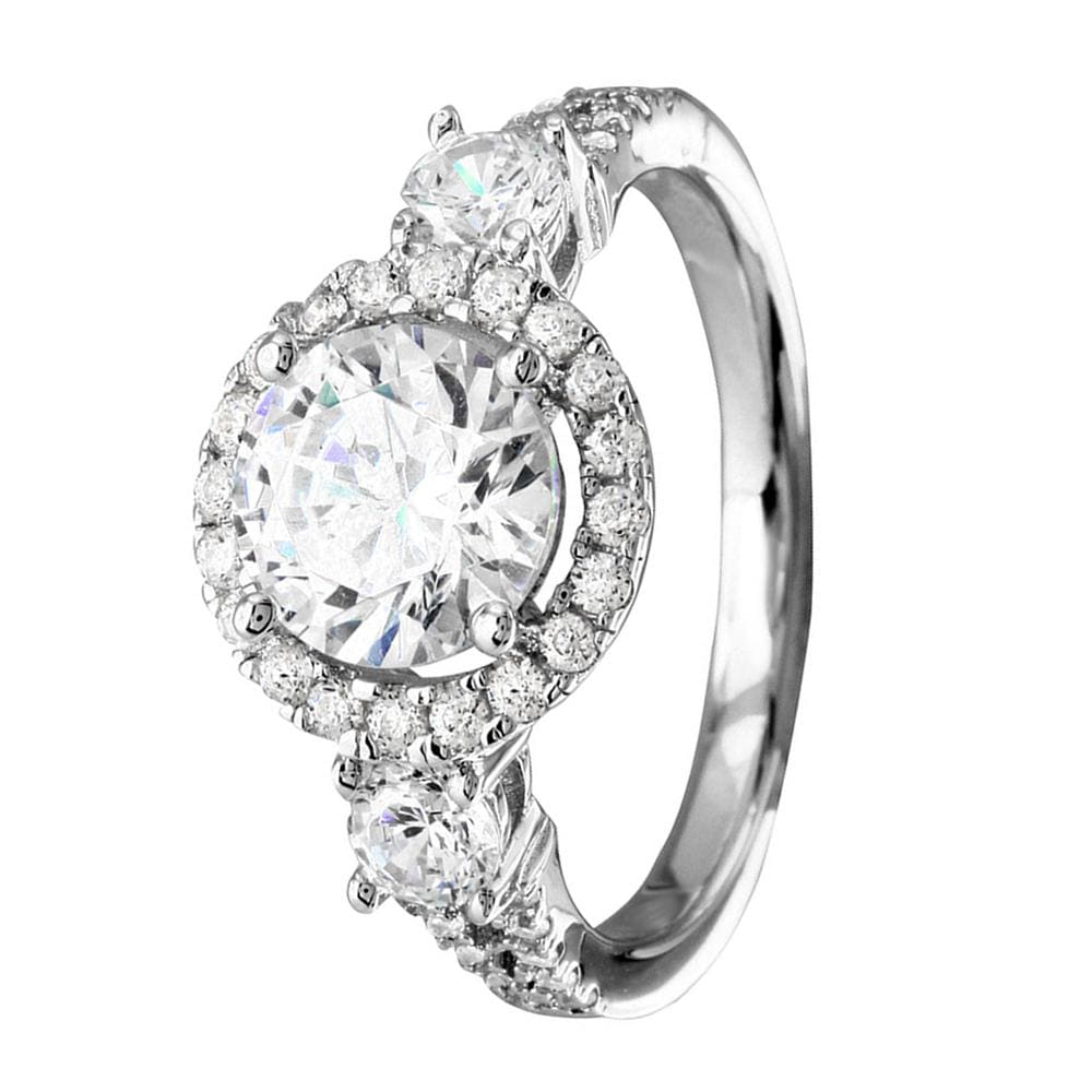 Engagement Rings Three Stone Halo Engagement Ring - 10mm