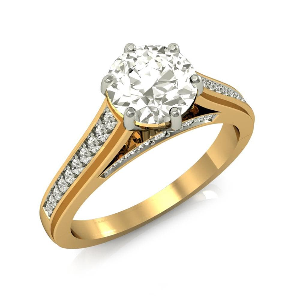 Engagement Rings Women's Round Cut Engagement Wedding Ring 2Ct Diamond 14k Yellow Gold Finish