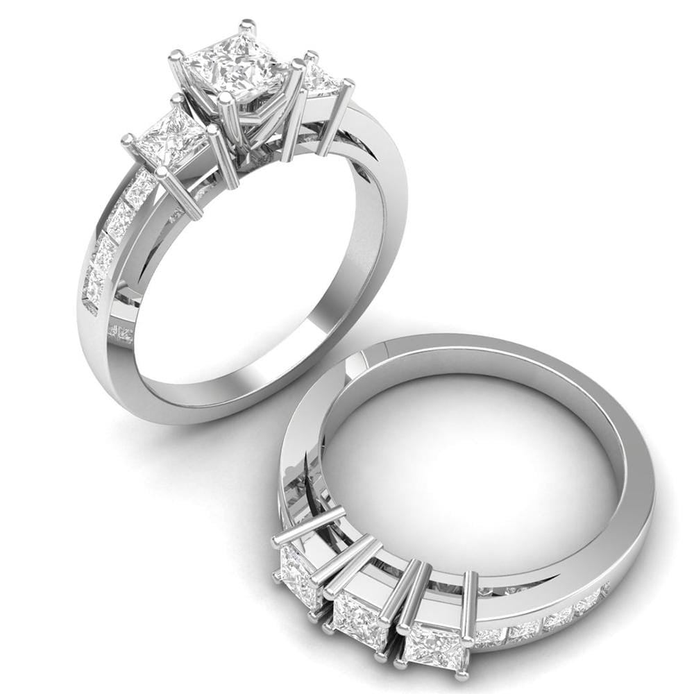 Engagment Ring Set Three Stone Engagement Ring Set