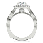 Halo Twisted Engagement Ring For Women's
