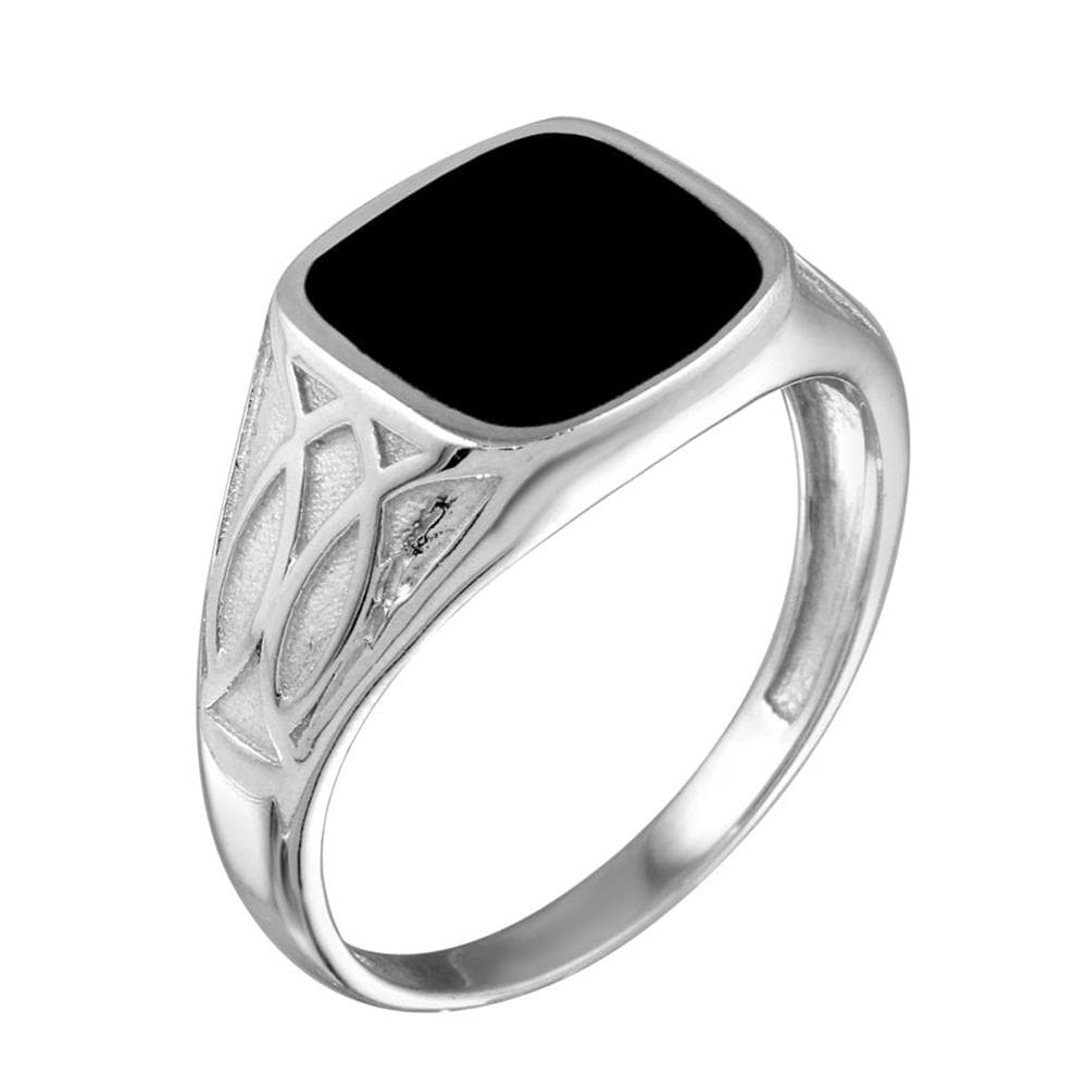 Black Enamel Celtic Design Shank Ring