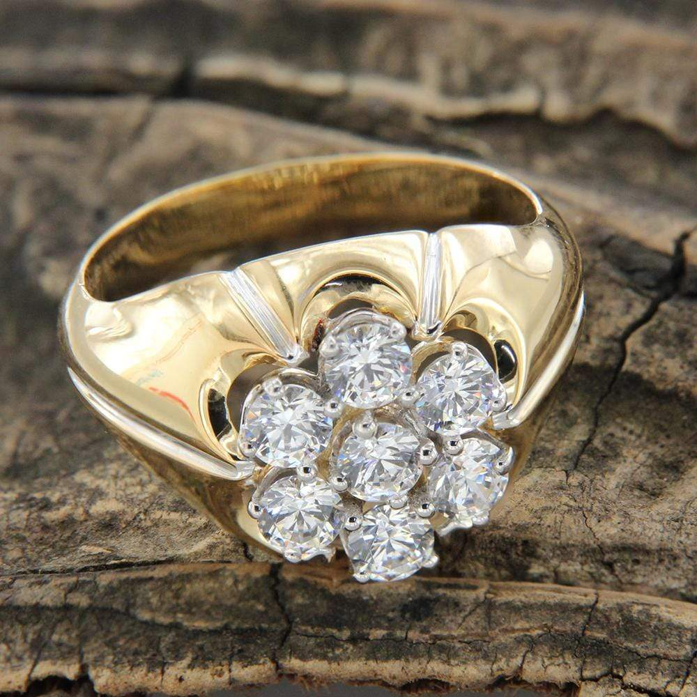 Men's Ring Cluster Wedding Band Ring