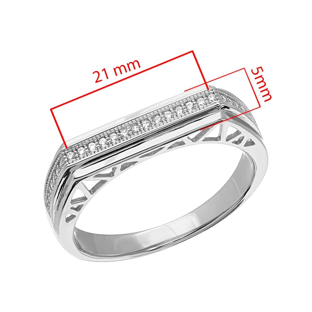 Men's Ring Micro Pave Designed Shank Band For Men