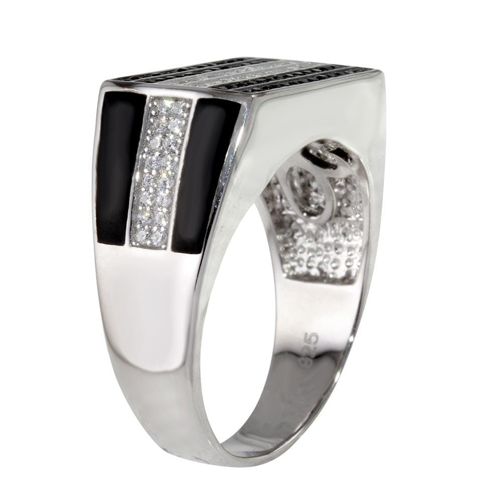 Men's Ring Rectangle Ring with Diamond