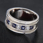Men's Ring Sapphire & Diamond Men's Wedding Band Ring