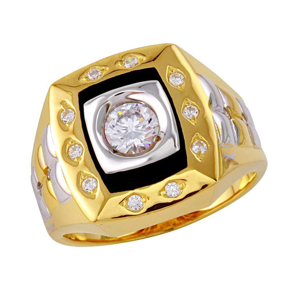 Men's Ring Tri Color Square Ring with Diamond