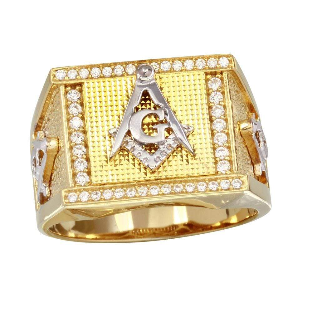 Two-Tone Square Masonik Symbol Ring