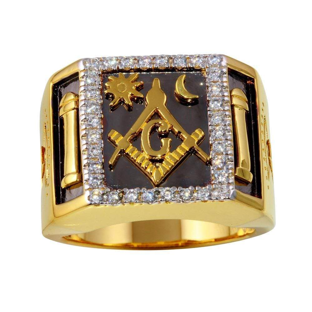 Two-Toned Masonik Square Ring