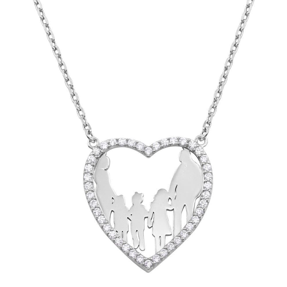 Open Heart With Family Pendant Necklace