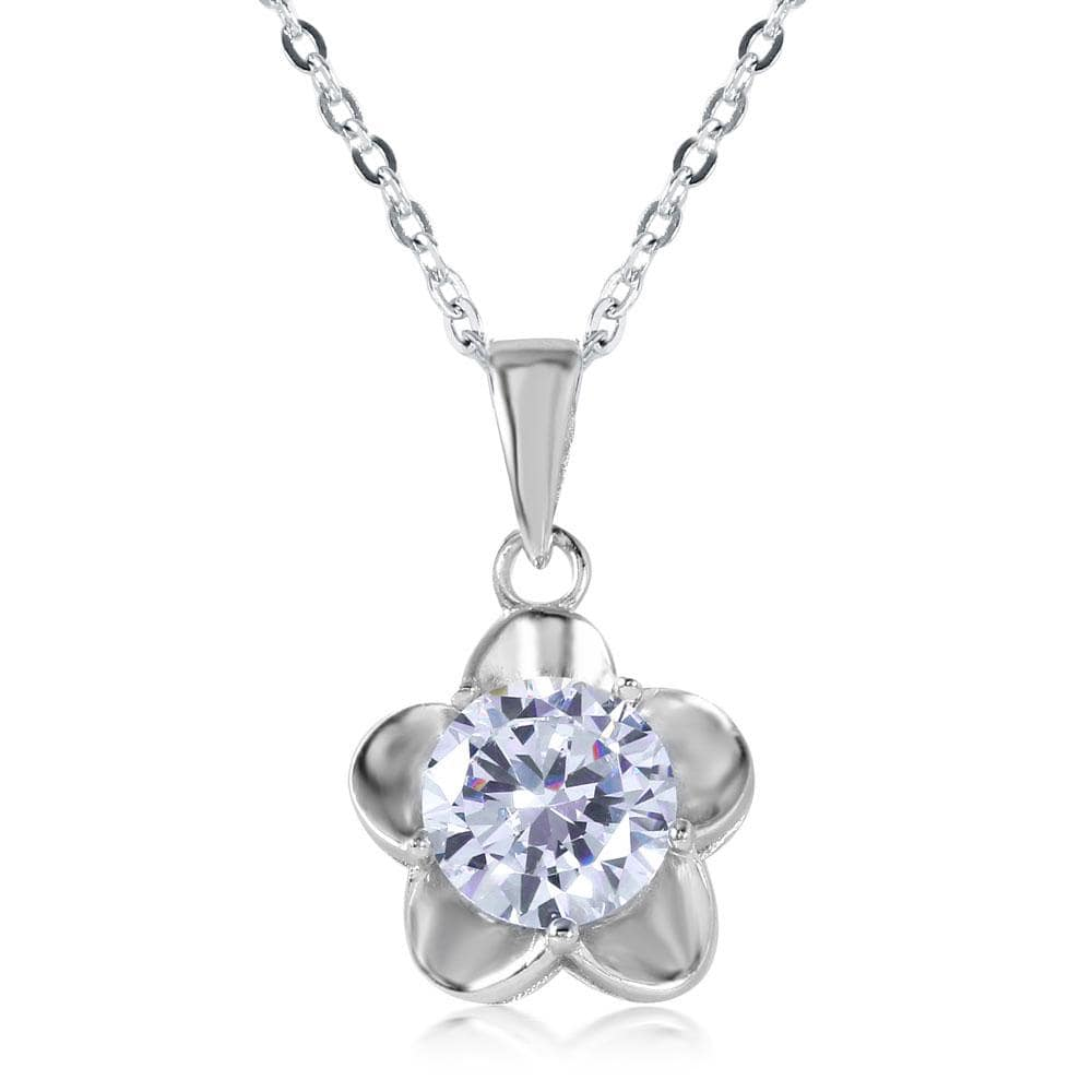 Solitaire Flower Pendant Necklace