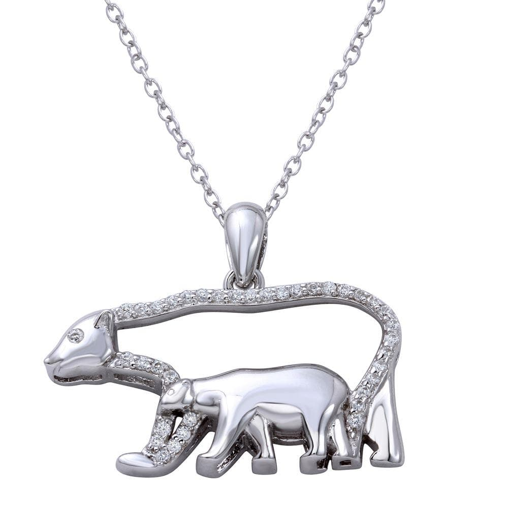 Mother & Child Bears Pendant Necklace