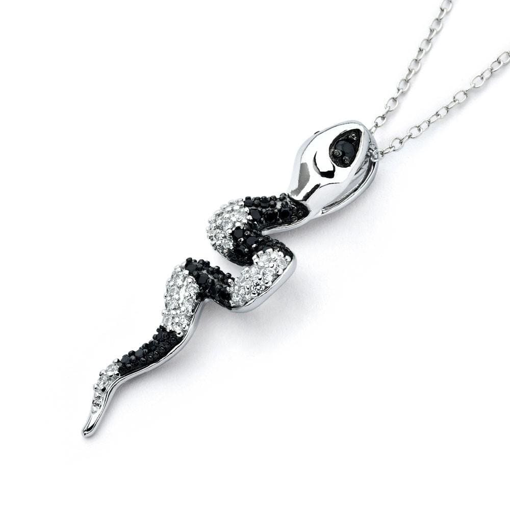 Snake Pendant Necklace in Sterling Silver