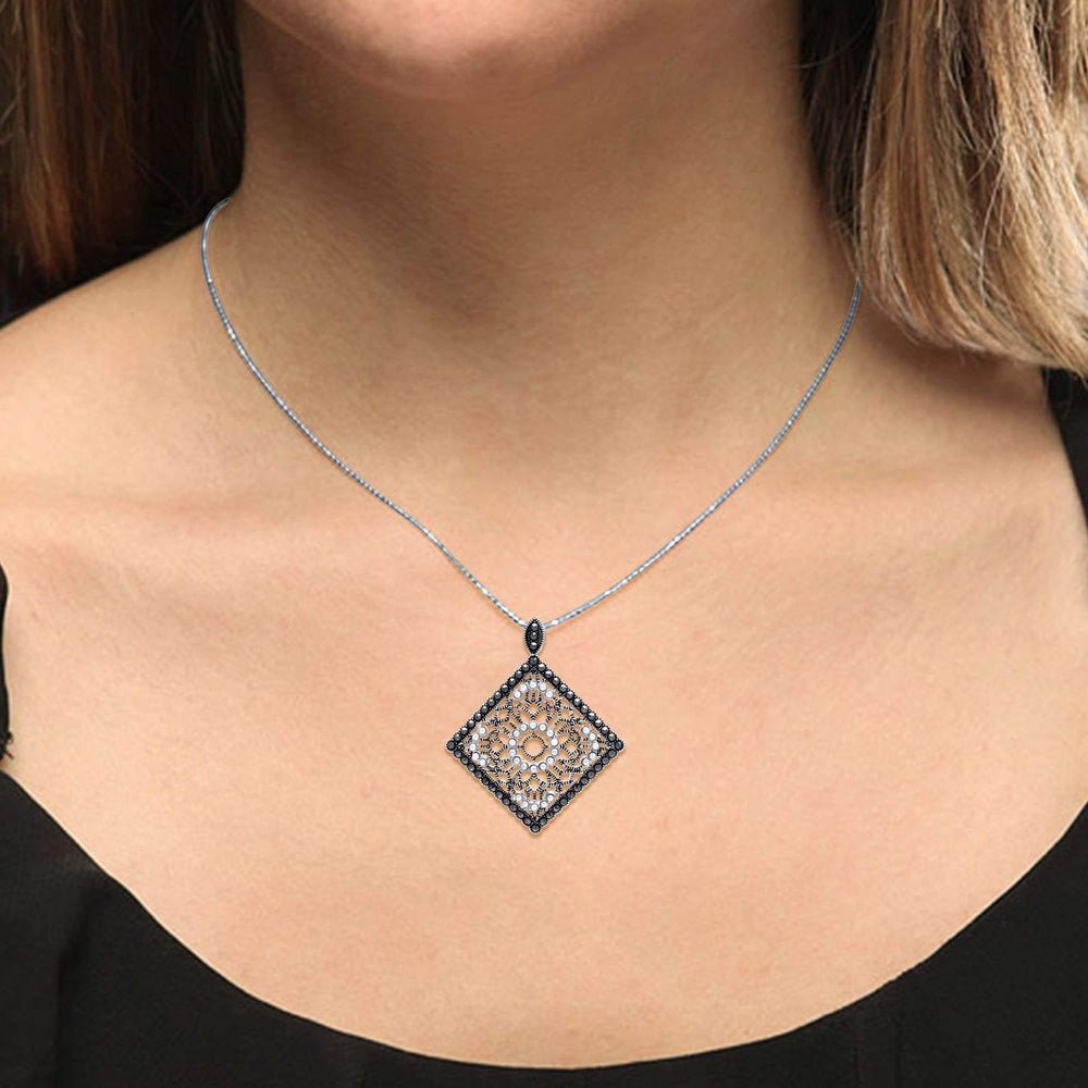 Black Rhodium Filigree Pendant Necklace