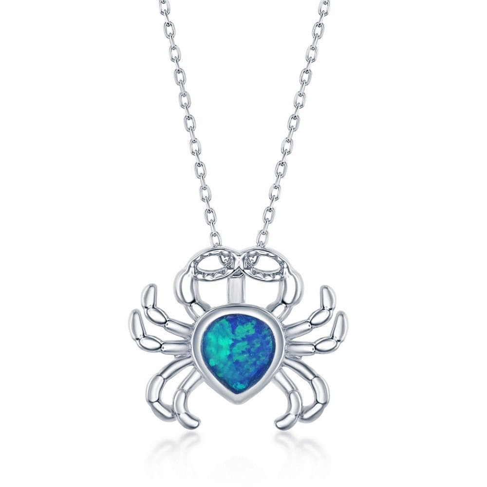 Necklace Blue Inlay Opal Crab Pendant Necklace Blue Inlay Opal Crab Pendant Necklace Sterling Silver