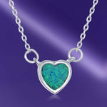 Necklace Blue Inlay Opal Heart Choker Blue Inlay Opal Heart Choker Sterling Silver