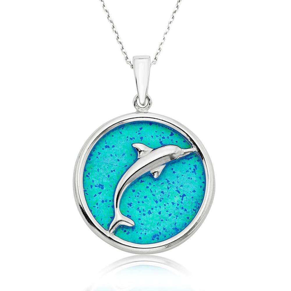Blue Opal Disc with Dolphin Necklace