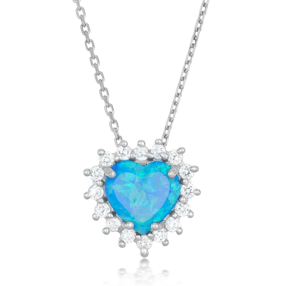 Blue Opal Heart Cluster Necklace