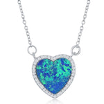 Opal Heart Shape Cluster Necklace