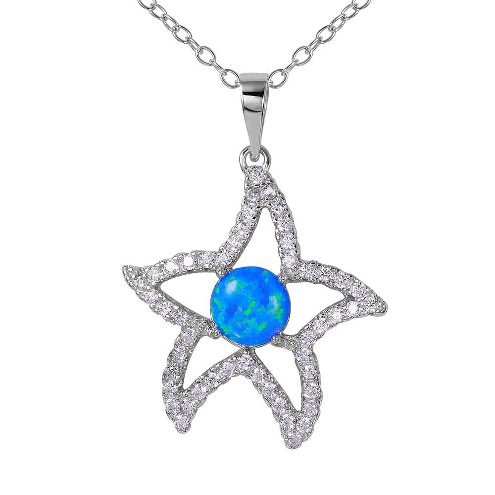 Blue Opal Starfish Pendent Necklace