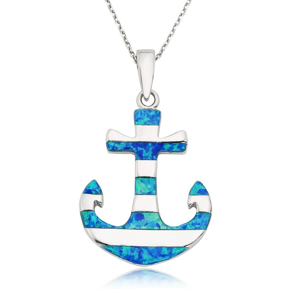 Blue Opal Stripes Anchor Necklace