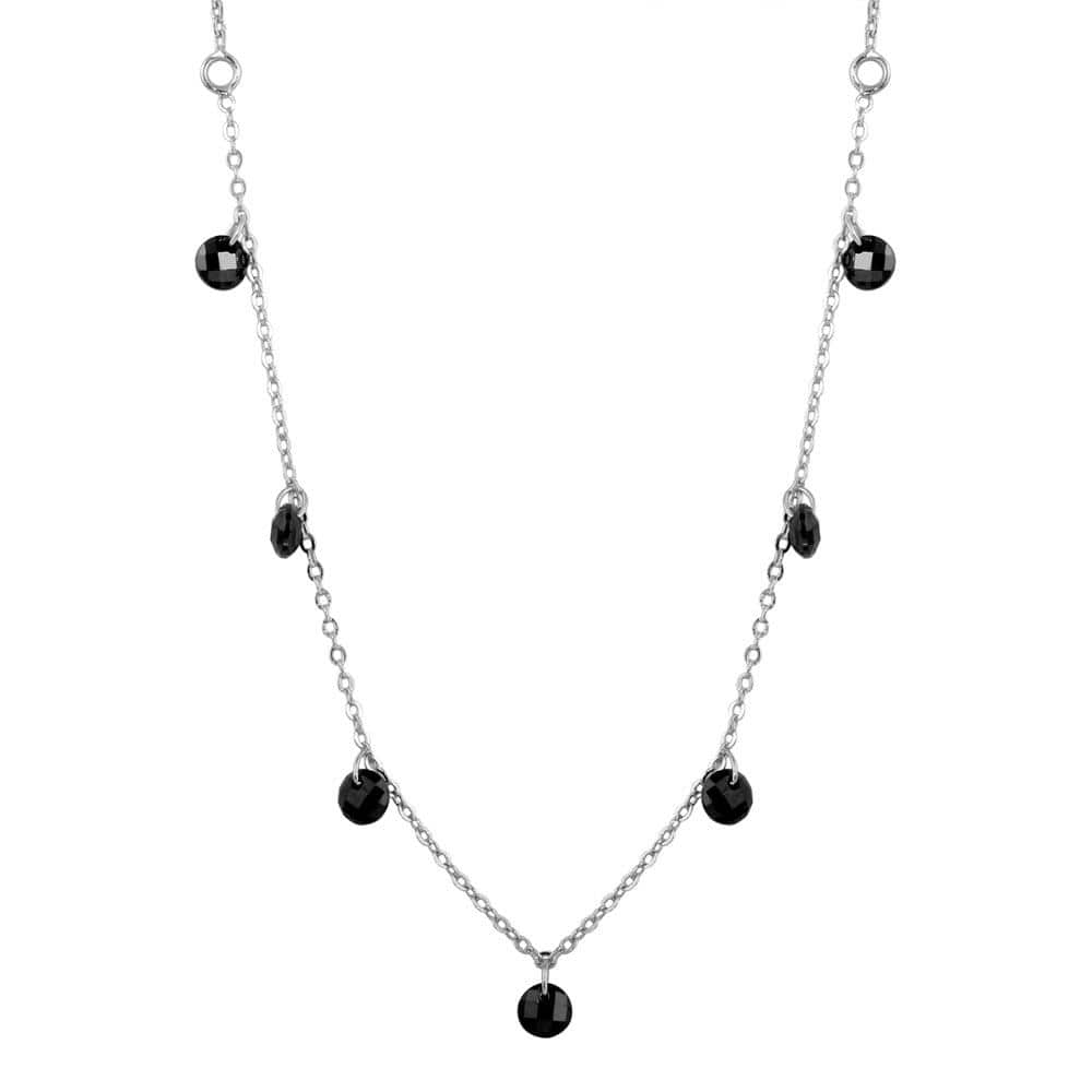 Dangling Black Stone Chain Necklace