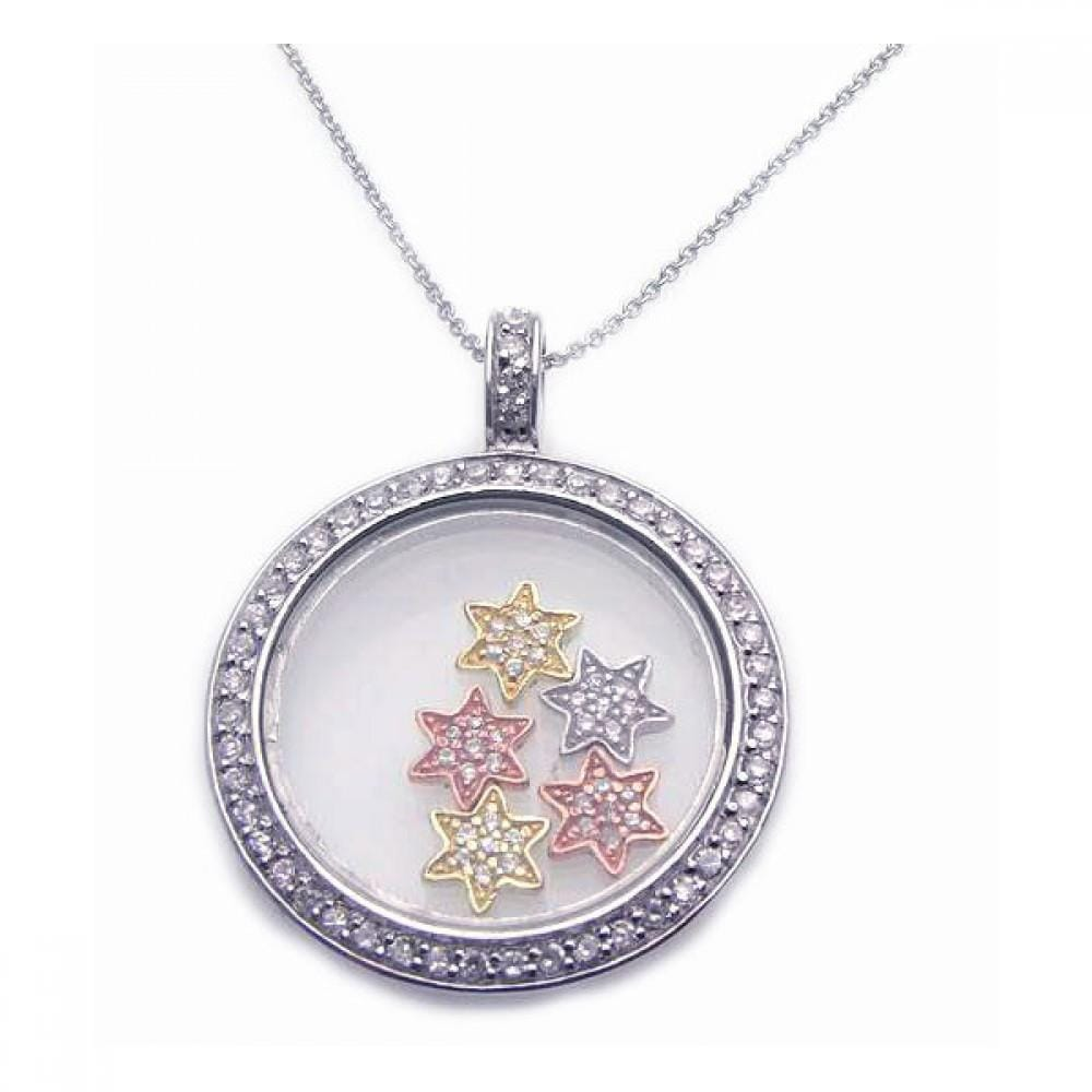 Circle With Stars Pendant Necklace