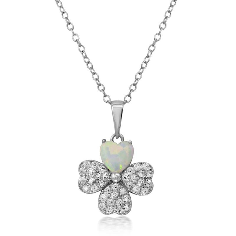 Clover Opal Leaf Necklace