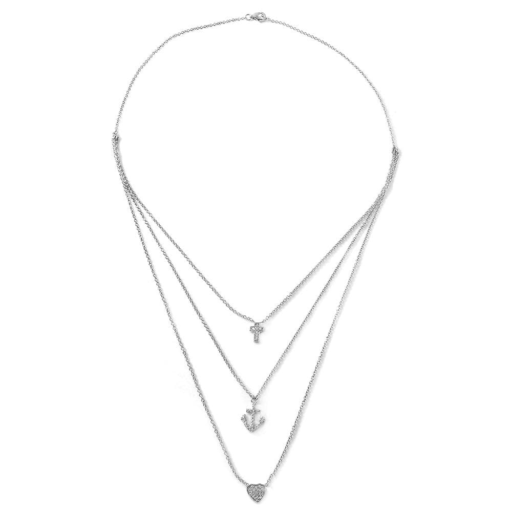 Cross Anchor Heart Triple Layer Necklace