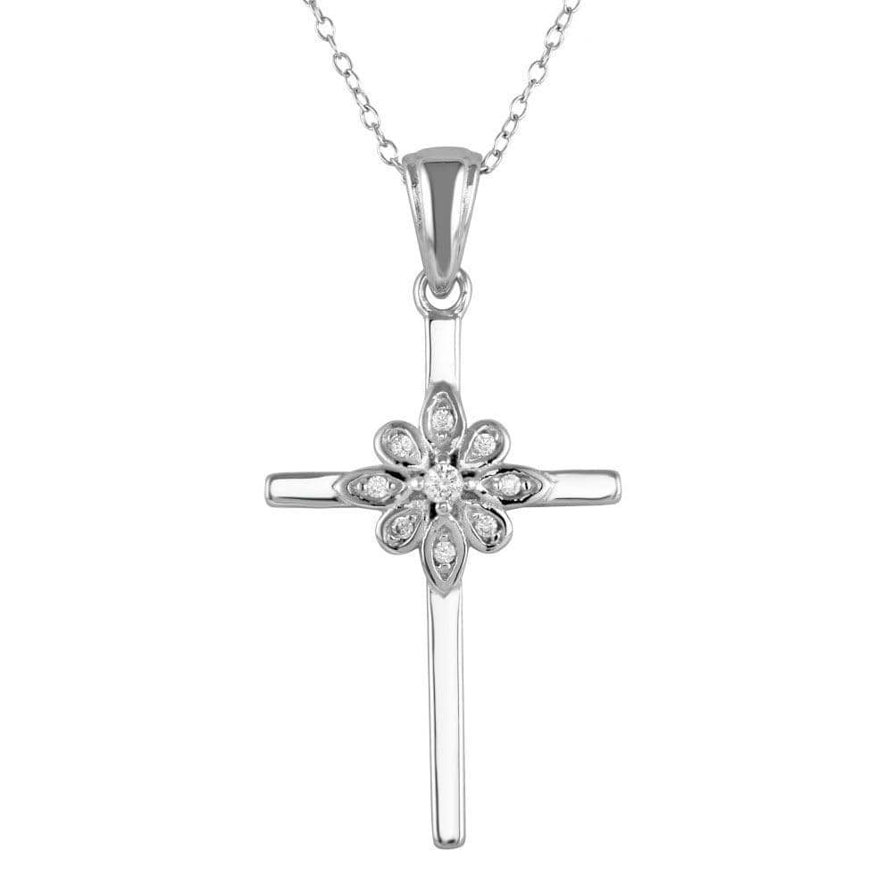 Cross With Flower Pendent Necklace