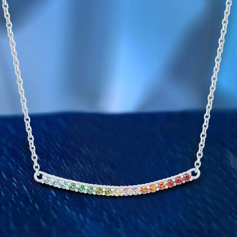 Necklace Curved Bar Multi Stone Necklace