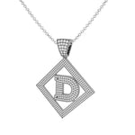 Necklace D Initial Pendant 14k White Gold Finish D Initial Pendant