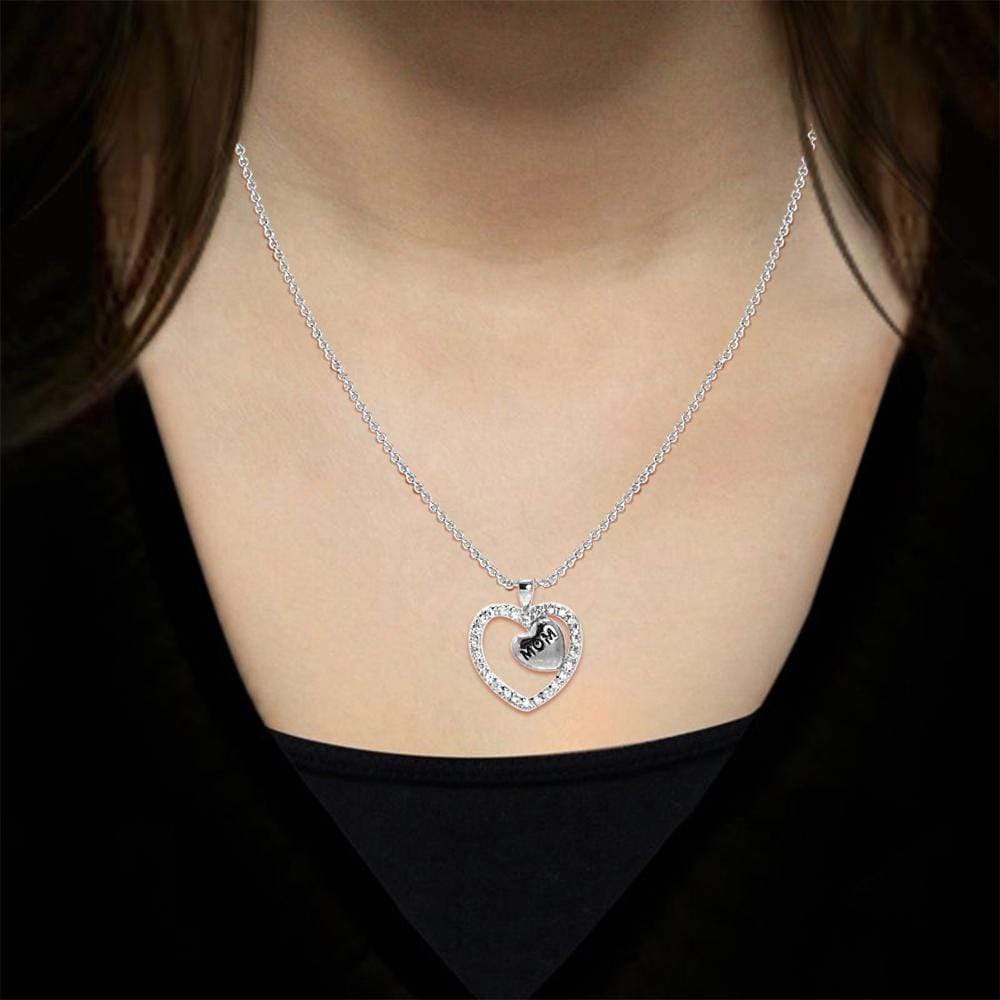 "Necklace Diamond Engraved ""Mom"" Heart Pendant Necklace"