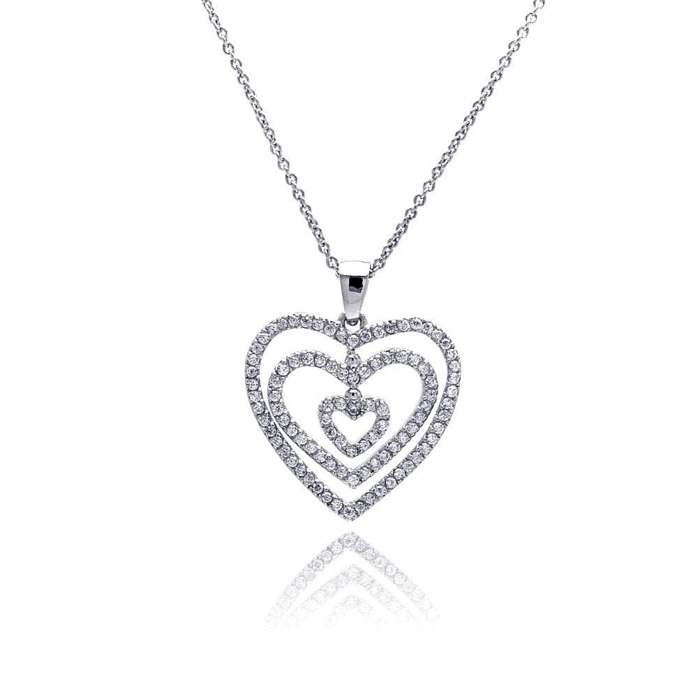 Necklace Diamond Graduated Heart Necklace