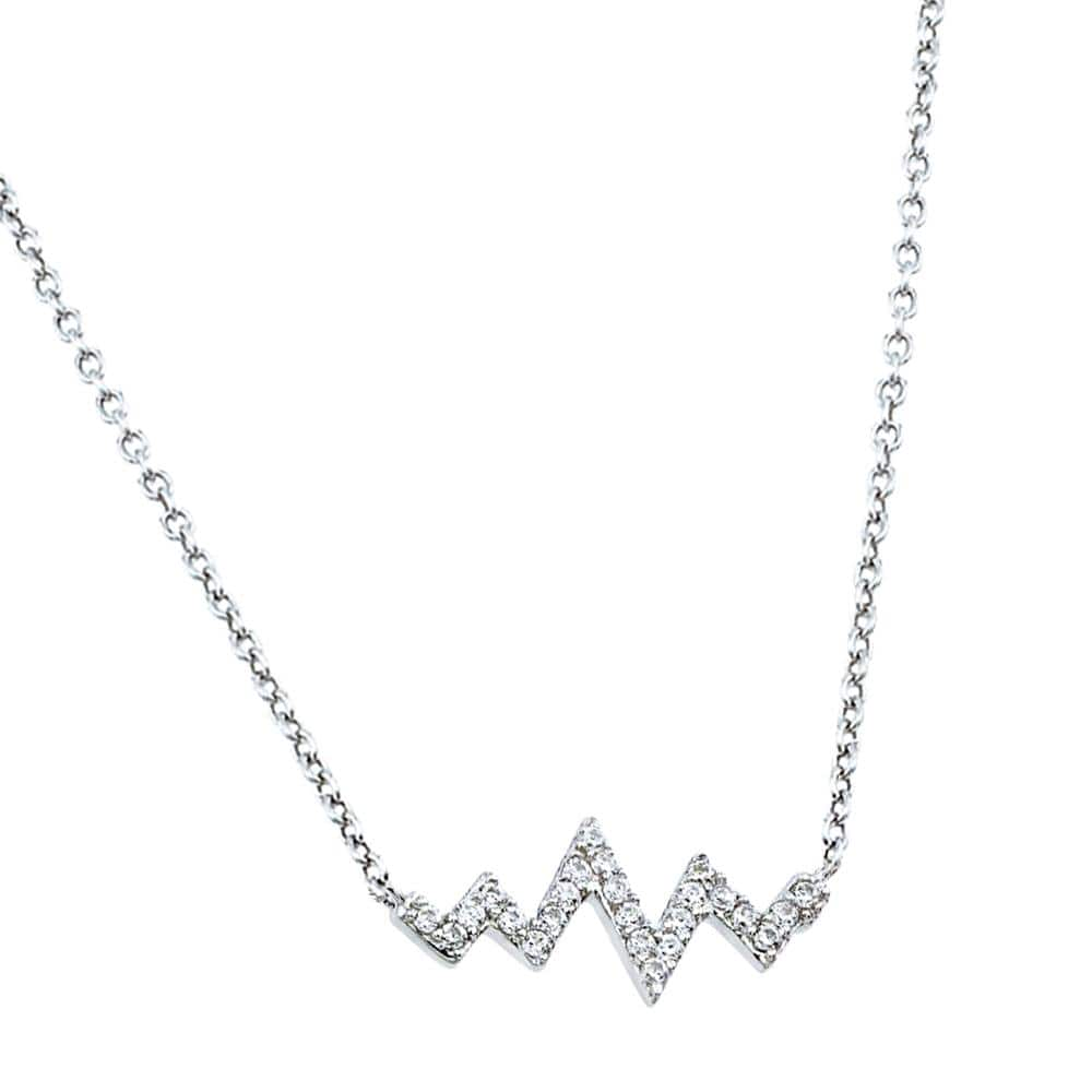 925 Sterling Silver Rhodium Plated Zigzag Heartbeat Pendant Necklace