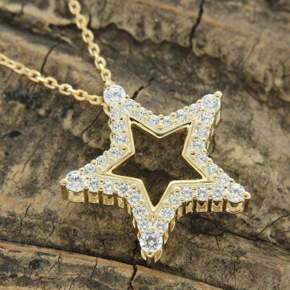 Necklace Diamond Star Shaped Pendant Necklace