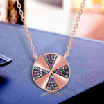 Necklace Disc Multi Stone Pendant Necklace