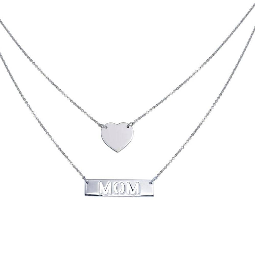 Double Chain Heart and Mom Pendant Necklace