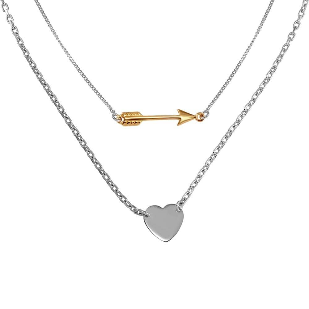 Necklace Double Link Arrow and Heart Pendant Necklace