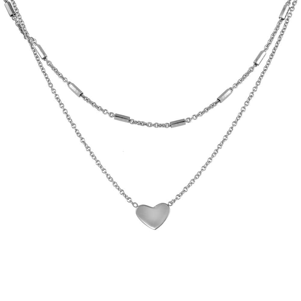 Necklace Double Link Heart Pendant Necklace