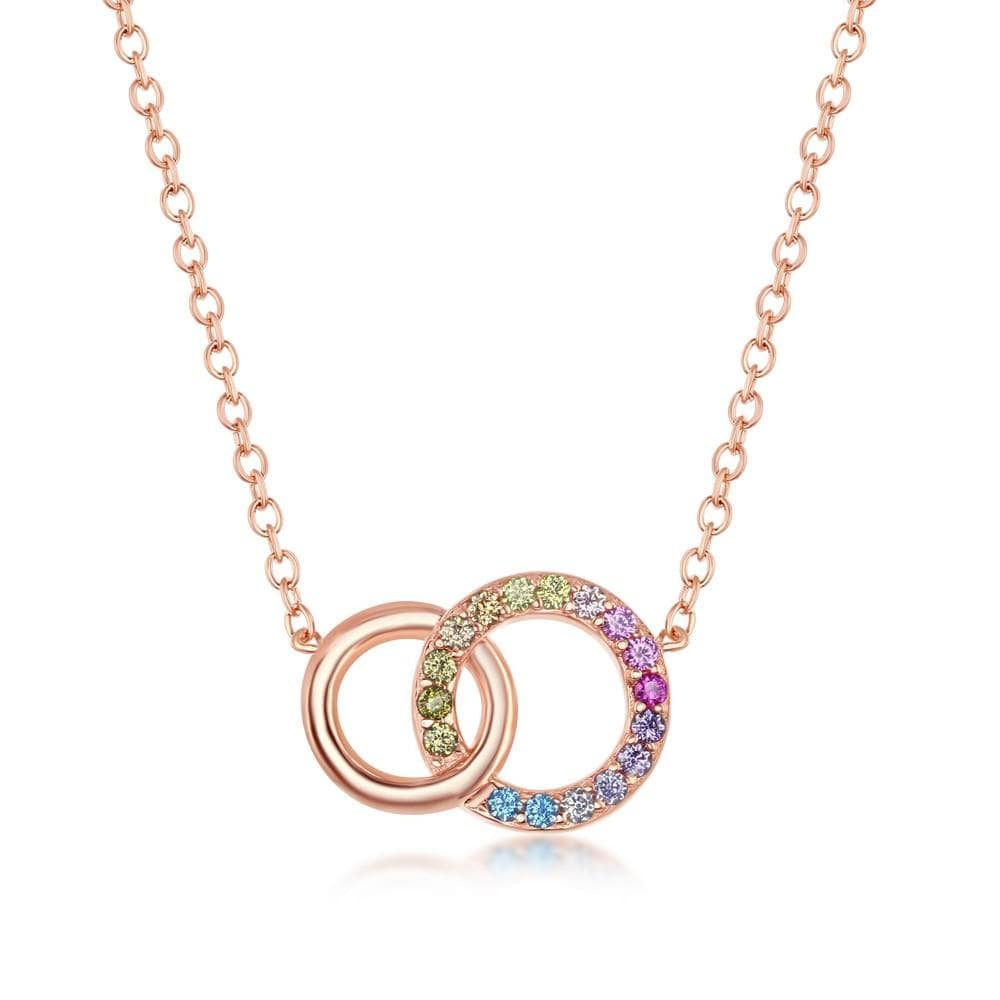Double Linked Circle Pendant Necklace