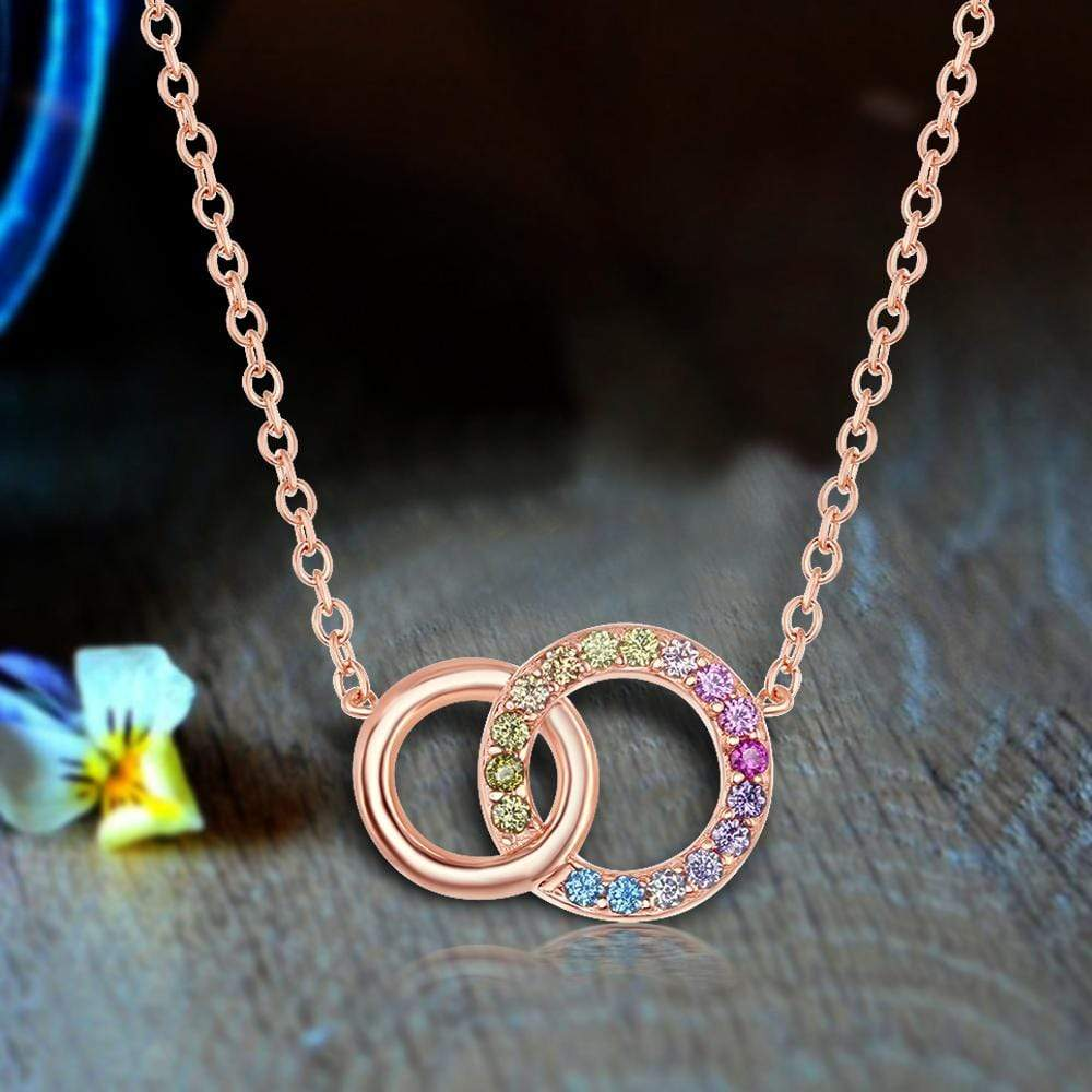 Necklace Double Linked Circle Pendant Necklace