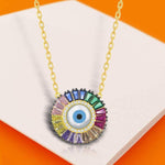 Necklace Evil Eye Baguette Pendant Necklace