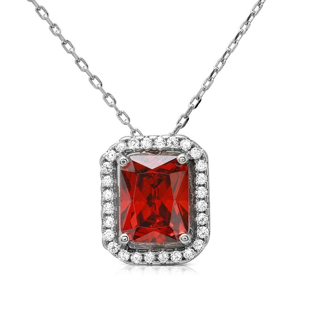 Necklace Four Prong Square Halo Pendant Necklace