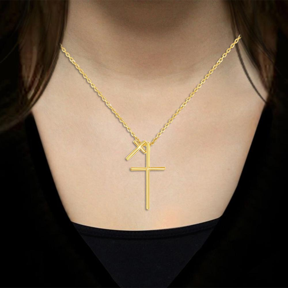 Necklace Gold Finish Double Cross Necklace Gold Finish Double Cross Necklace Sterling Silver