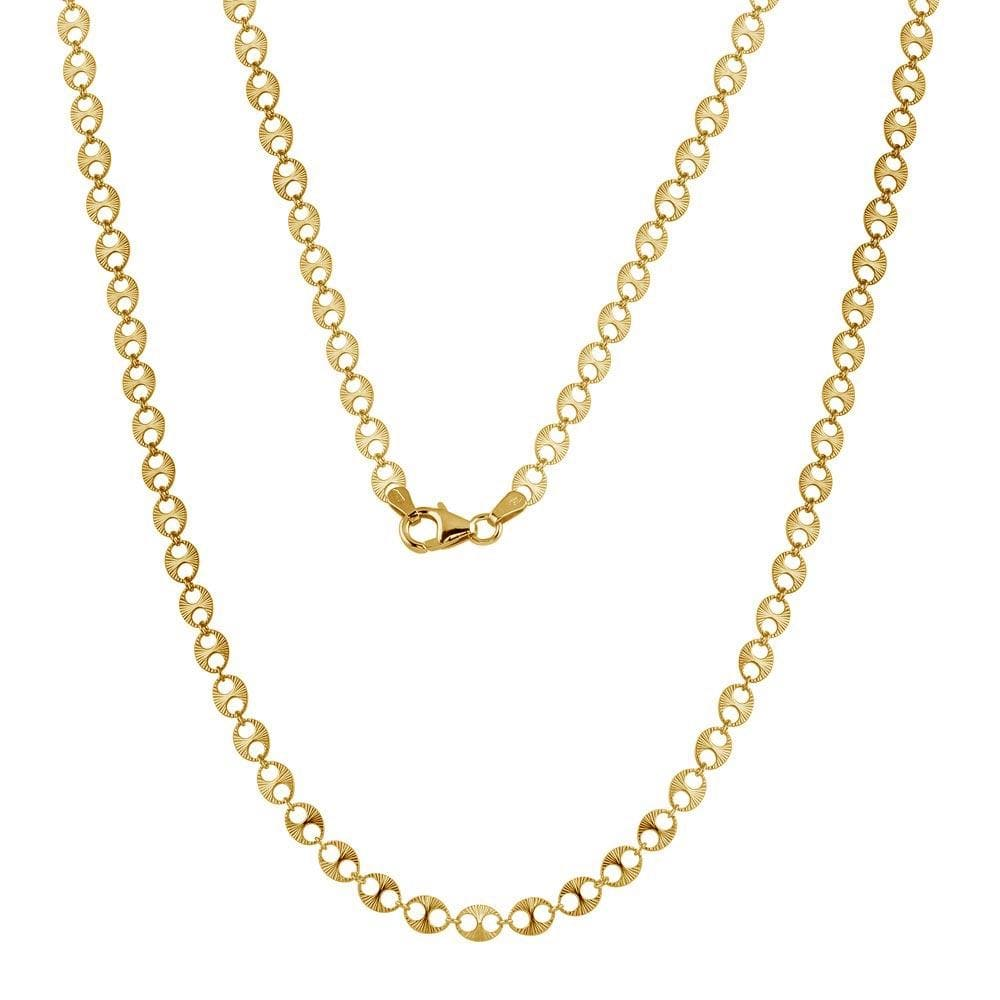Necklace Gold Finish Double Hole Link Necklace